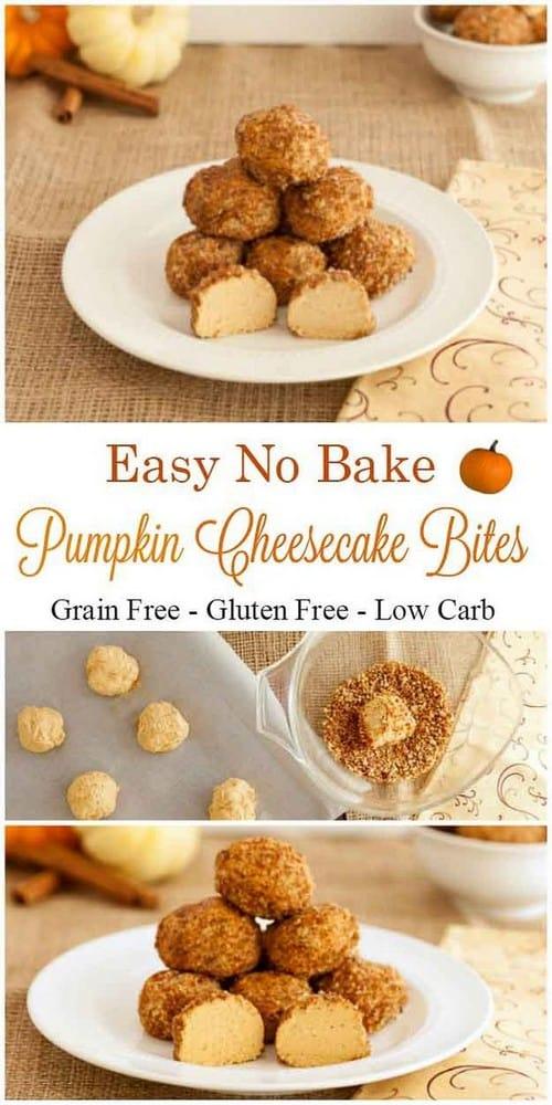 Keto No Bake Pumpkin Cheesecake Bites