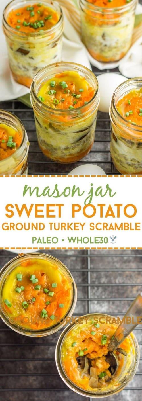 Whole30 Mason Jar Sweet Potato Ground Turkey Scramble