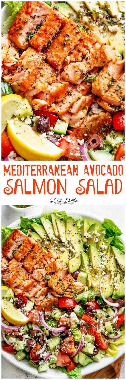 Mediterranean Avocado Salmon Salad