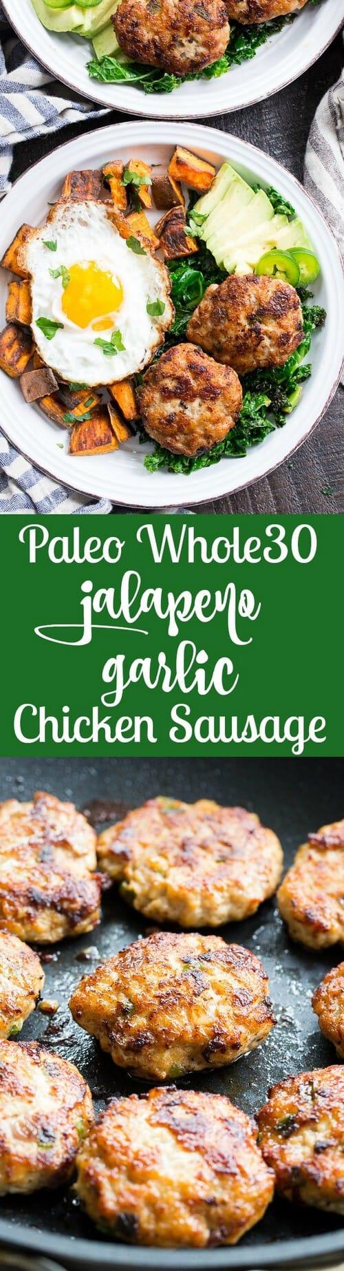 Whole30 Garlic Jalapeno Chicken Sausage Patties