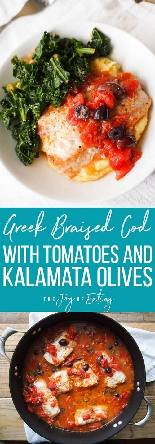 Mediterranean Greek Braised Cod with Tomatoes and Kalamata Olives