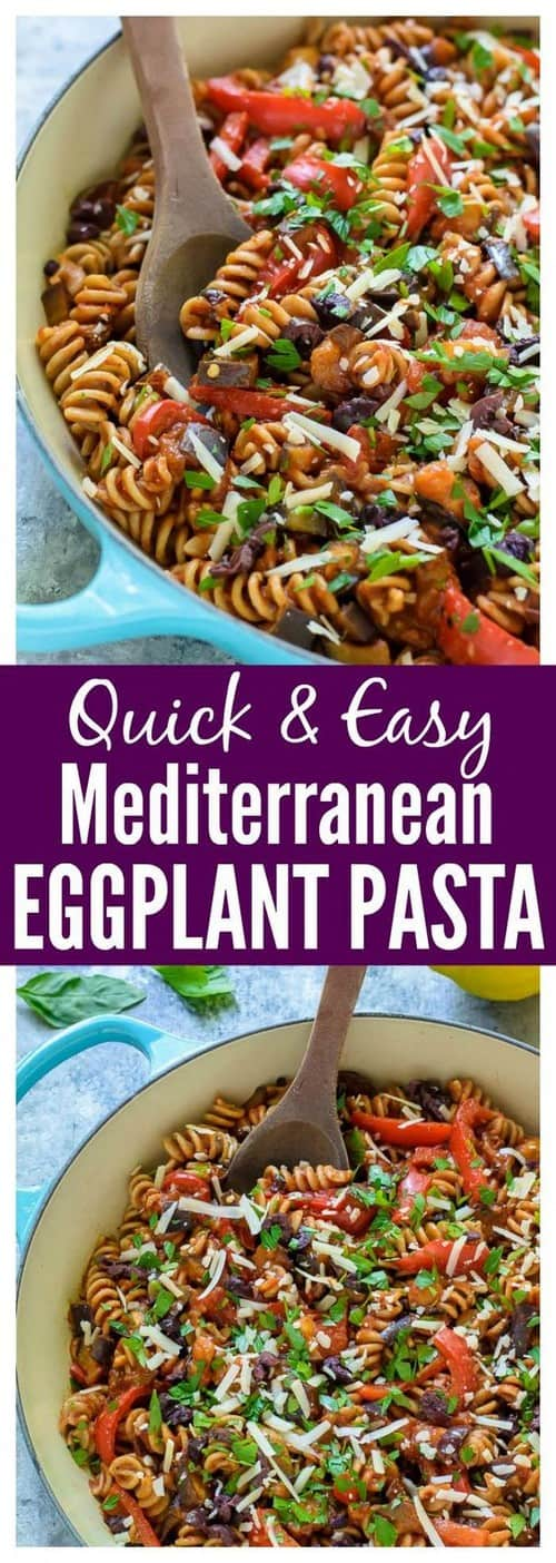 Mediterranean Eggplant Pasta with Red Pepper and Tomato