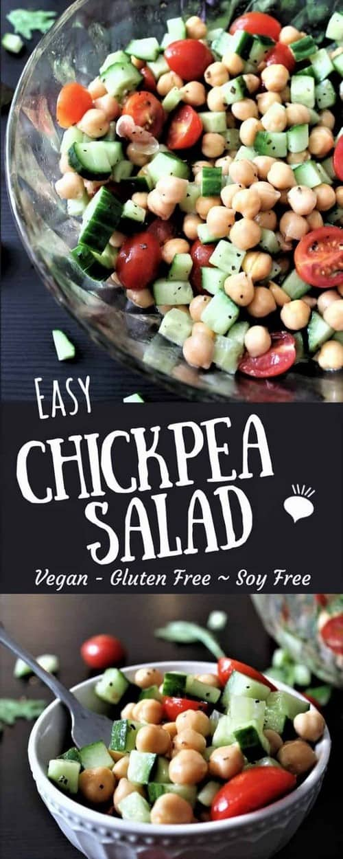 Mediterranean Vegan Chickpea Salad with Garlic Vinaigrette