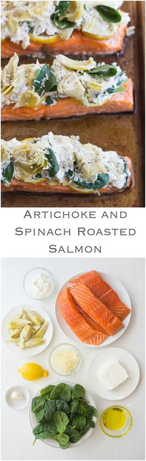 Mediterranean Artichoke and Spinach Roasted Salmon