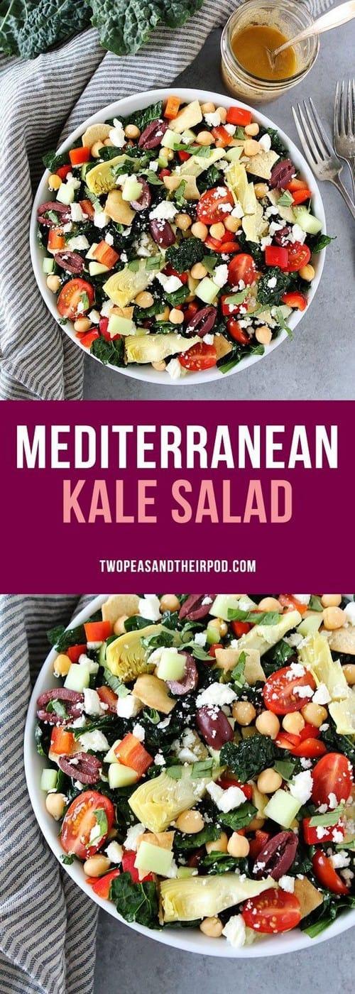 Mediterranean Kale Salad with Hummus Dressing