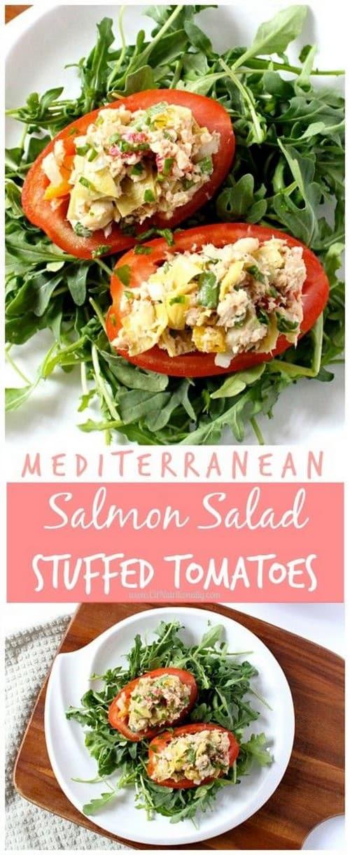 Mediterranean Salmon Salad Stuffed Tomatoes