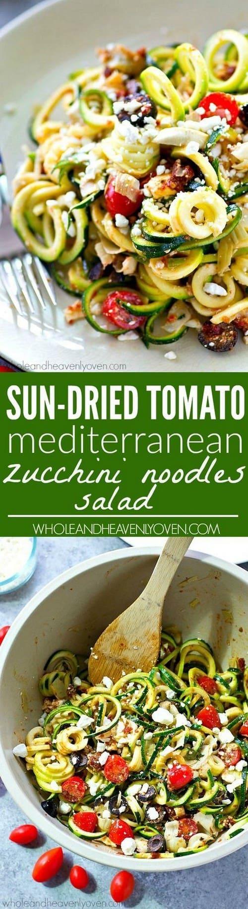 Sun-Dried Tomato Mediterranean Zucchini Noodle Salad
