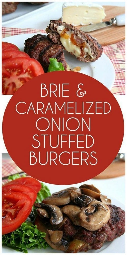 Keto Brie and Caramelized Onion Stuffed Burgers