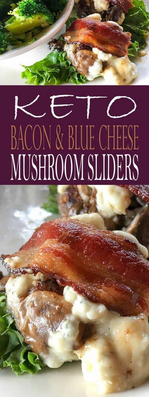 Keto Hamburgers with Bacon, Blue Cheese, and Mushrooms