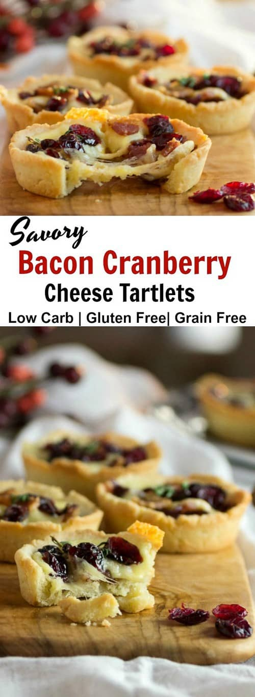 Keto Savory Bacon Cranberry Cheese Tartlets