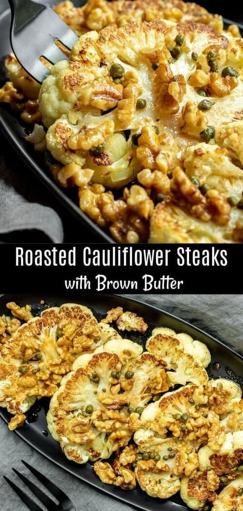 Keto Roasted Cauliflower Steaks with Brown Butter