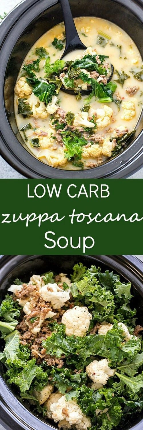Slow Cooker Keto Low Carb Zuppa Toscana Soup