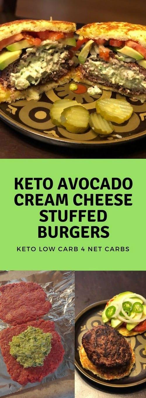 Keto Avocado Cream Cheese Stuffed Burgers