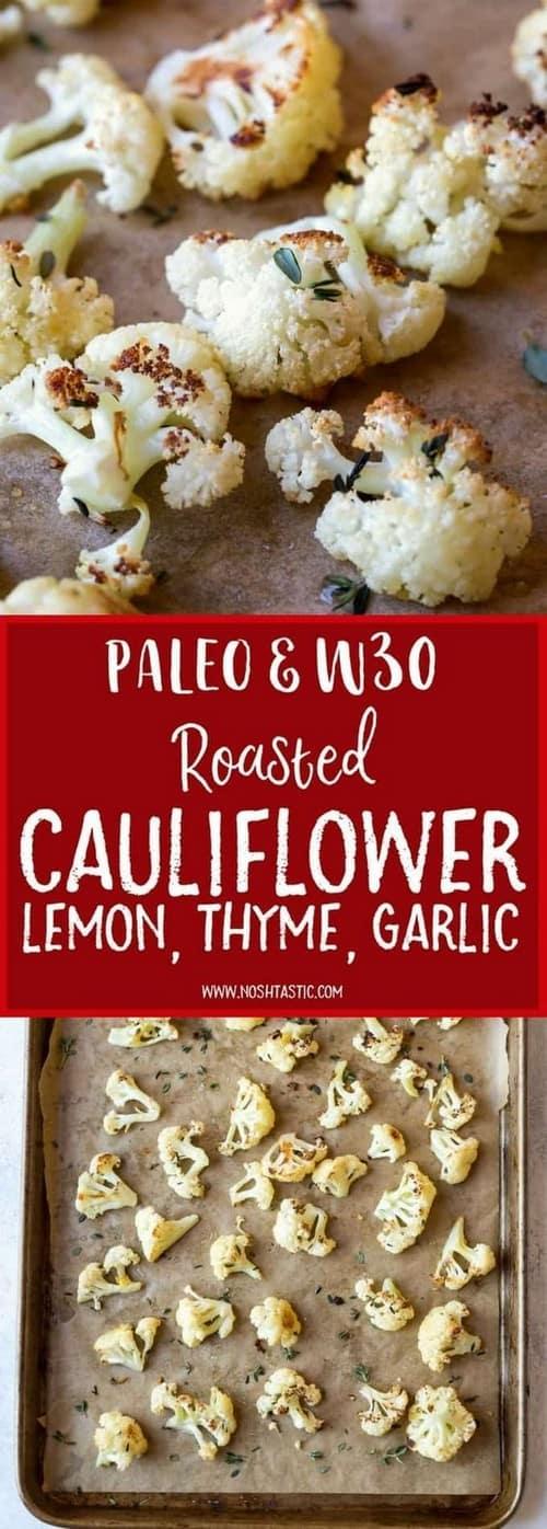Keto Paleo Roasted Cauliflower with Lemon, Thyme, and Garlic