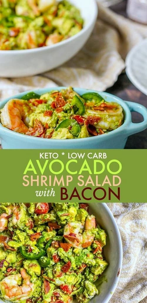 Keto Avocado Shrimp Salad with Bacon