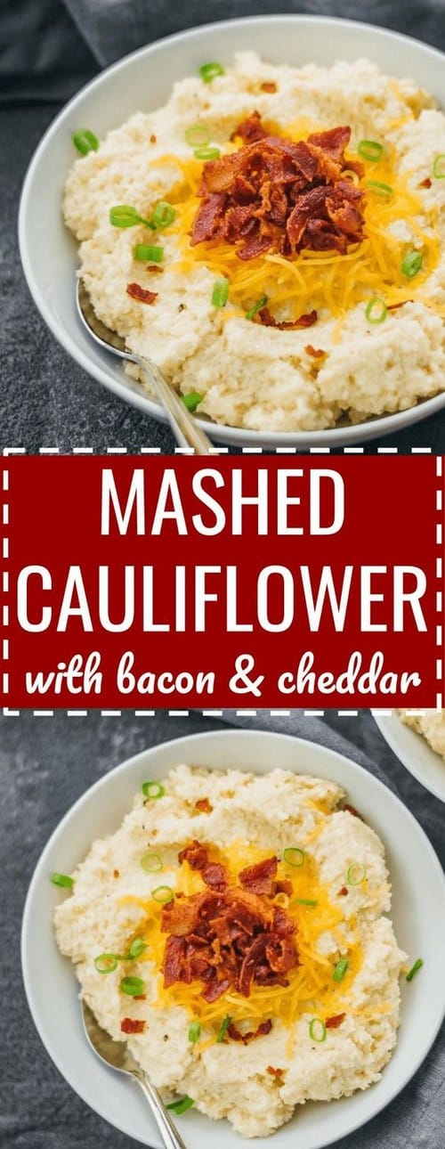 Keto Mashed Cauliflower Loaded with Bacon and Cheddar Cheese