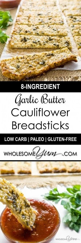 Low Carb Keto Cauliflower Breadsticks with Garlic Butter & Hemp Seeds