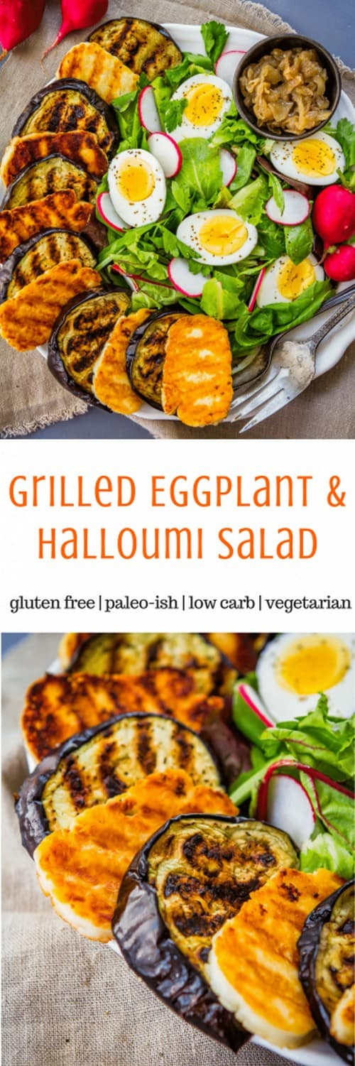Keto Grilled Eggplant Salad with Halloumi