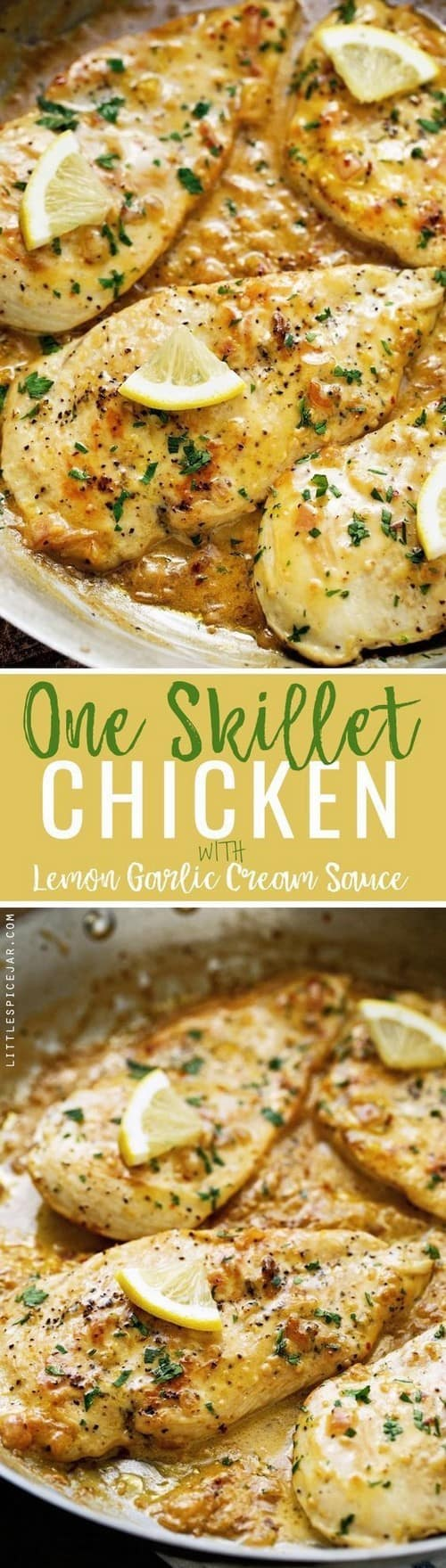 Keto One Skillet Chicken with Lemon Garlic Cream Sauce