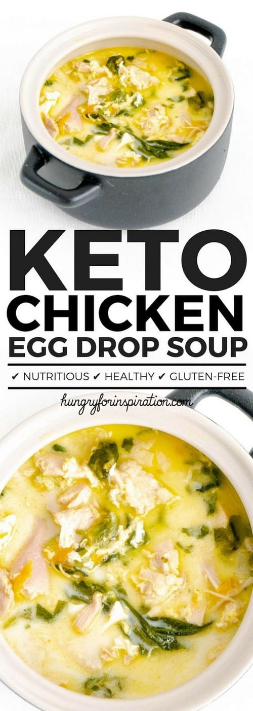 Keto Creamy Chicken Egg Drop Soup with Spinach