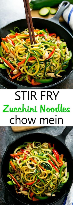 Keto Stir Fry Zucchini Noodles Chow Mein