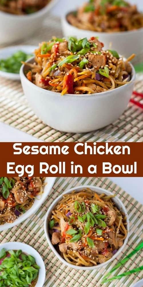 Keto Sesame Chicken Egg Roll in a Bowl