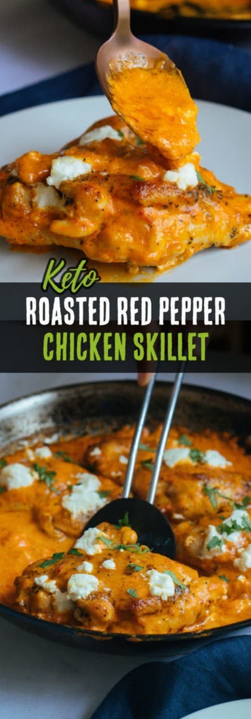 Keto Roasted Red Pepper Chicken Thighs